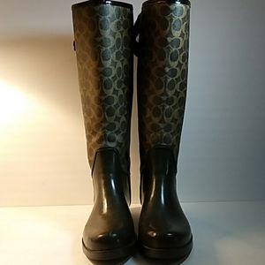 COACH Black TRISTEE Rain Boots Knee High Logo Sz10